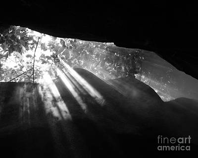 Photograph - Light Through Mist In Cave by Robin Maria Pedrero