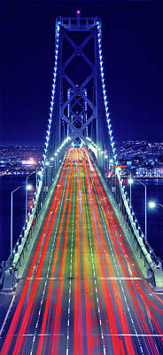Bay Bridge Photograph - Light Trails On Bay Bridge At Night by Panoramic Images