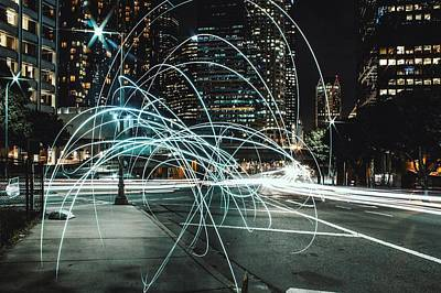 Light Trails On City Road At Night Art Print by Kevin Martinez / Eyeem