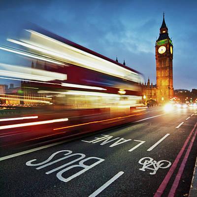 Light Trails On Westminster Bridge With Art Print by Ricardolr
