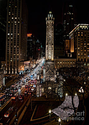 Photograph - Light Up The Night -michigan Avenue In Chicago Illinois by Linda Matlow