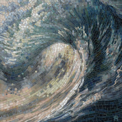 Mosaic Painting - Light Wave  by Mia Tavonatti
