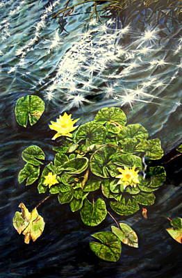 Light Wind And Waterlilies Art Print by Thomas Akers