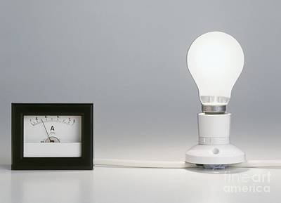 Lightbulb Attached To Ammeter Art Print by Clive Streeter / Dorling Kindersley
