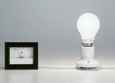 Lightbulb Attached To Ammeter Art Print by Dorling Kindersley/uig