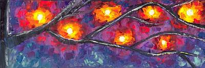 Lighted Branches 1 Of 2 Art Print