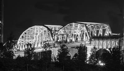 Art Print featuring the photograph Lighted Pedestrian Bridge  by Robert Hebert