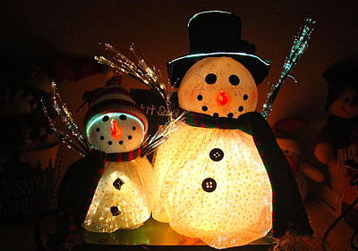 Photograph - Lighted Snowmen by Denise Mazzocco