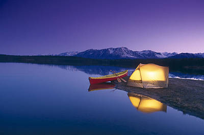 Night Photograph - Lighted Tent & Canoe Byers Lake Tokosha by Michael DeYoung