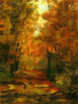 Pathway Digital Art - Lighted Trail by Jo-Anne Gazo-McKim