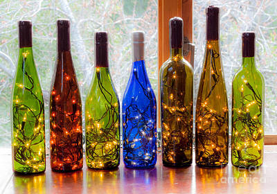 Photograph - Lighted Wine Bottles by Margaret Hood