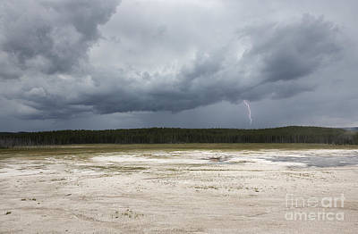 Lightening At Yellowstone Art Print by Belinda Greb