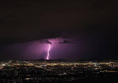 Lightnings Of Arizona Photograph - Lightening Over Phoenix by Wayne Hacker