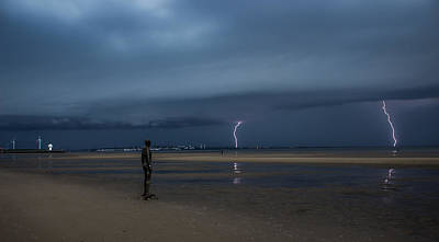 Another Place Photograph - Lightning Strikes Twice by Paul Madden