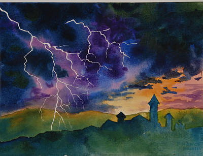 Lightening With Castle Original by Heidi E  Nelson