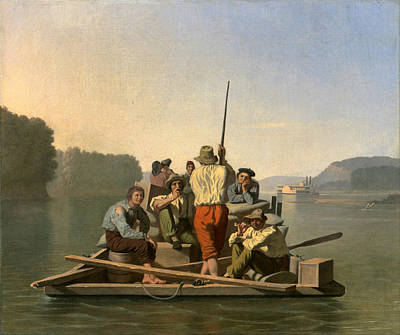 Aground Painting - Lighter Relieving A Steamboat Aground by George Caleb Bingham
