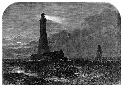 Christmas Eve Painting - Lighthouse, 1856 by Granger