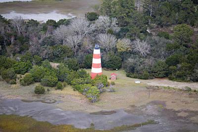 White Lighthouse.light Photograph - Lighthouse Aerial Near Jekyll Island by Betsy Knapp
