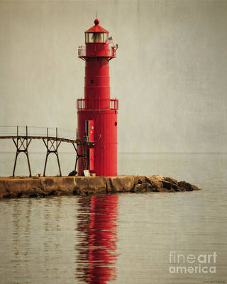 Jetty Digital Art - Lighthouse - Algoma by Mary Machare