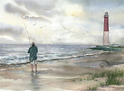 Lighthouse And Fisherman Art Print by Beth Kantor