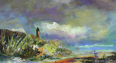 Lighthouse And Fisherman Art Print