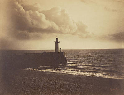 Lighthouse Drawing - Lighthouse And Jetty, Le Havre Gustave Le Gray by Litz Collection