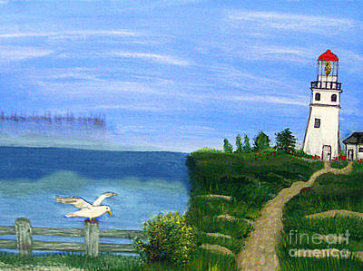 Lighthouse And Seagull 2 Art Print by Mindy Bench