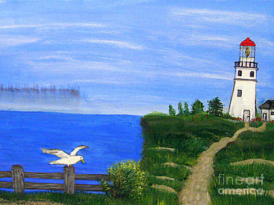 Painting - Lighthouse And Seagull  by Mindy Bench