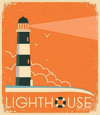 Beacon Wall Art - Digital Art - Lighthouse And Sky On Old Poster by Tancha