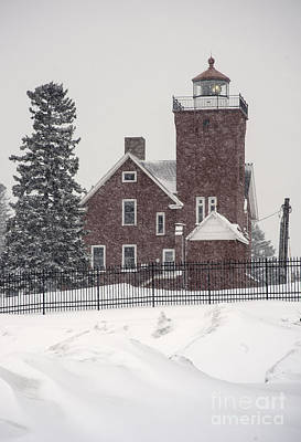 Photograph - Lighthouse And Snow by Fred Lassmann