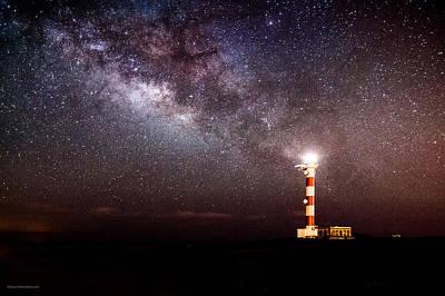 Lighthouse And The Miky Way Art Print by Raico Rosenberg