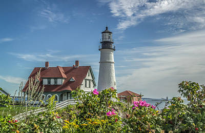 Lighthouse And Wild Roses Art Print by Jane Luxton