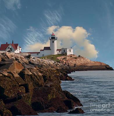 Lighthouse At Cape Ann's Harbor Art Print