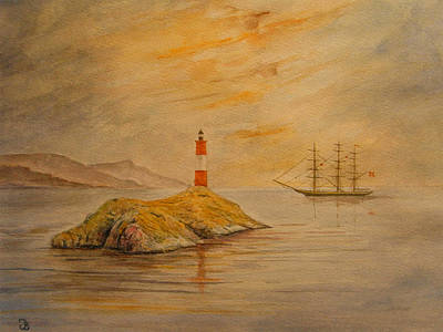 United Kingdom Painting - Lighthouse At Cornwall by Juan  Bosco