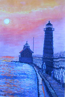 Colorplay Painting - Lighthouse At Dusk by Martha Cervantes