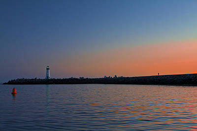 Beach Towns Photograph - Lighthouse At Harbor Deep Sunset by SC Heffner