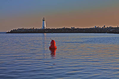 Photograph - Lighthouse At Harbor by SC Heffner