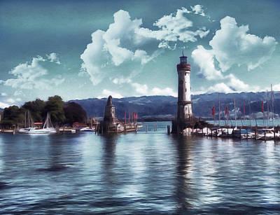 Coastline Digital Art - Lighthouse At Lindau by Georgiana Romanovna