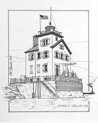 Lake Erie Drawing - Lighthouse At Lorain Ohio Harbor by Ira Shander