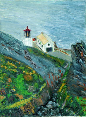 Art Print featuring the painting Lighthouse At Point Reyes California by Michael Daniels