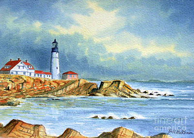 Painting - Lighthouse At Portland Head Maine by Bill Holkham