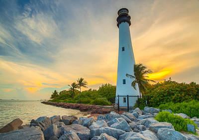 Lighthouse At Sunset Original by George Kenhan