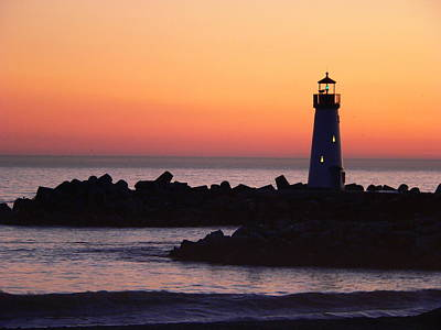 Photograph - Lighthouse At Sunset by Jeff Lowe