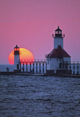 Joseph Photograph - Lighthouse At Sunset, St. Joseph by Panoramic Images