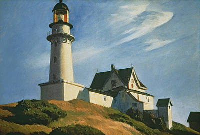Reproduction Painting - Lighthouse At Two Lights by Edward Hopper