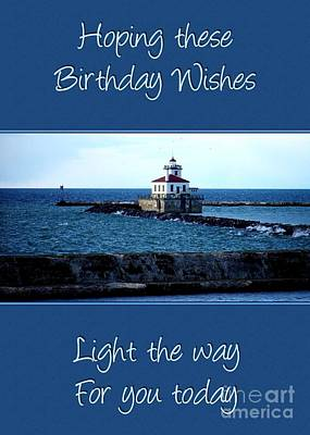 Digital Art - Lighthouse Birthday Wishes by JH Designs