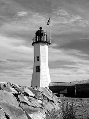 Lighthouse Black And White Art Print