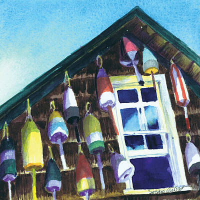 Painting - Lighthouse Buoys Maine by Susan Herbst
