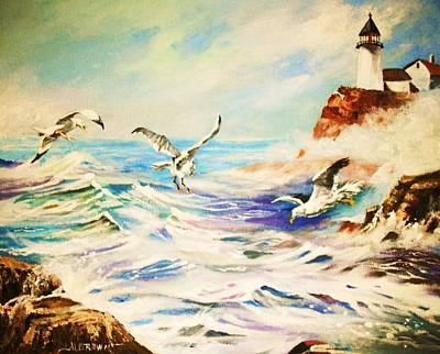 Lighthouse Gulls And Waves Art Print