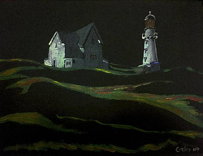 Lighthouse At Night Painting - Lighthouse Hill At Night by GR Cotler